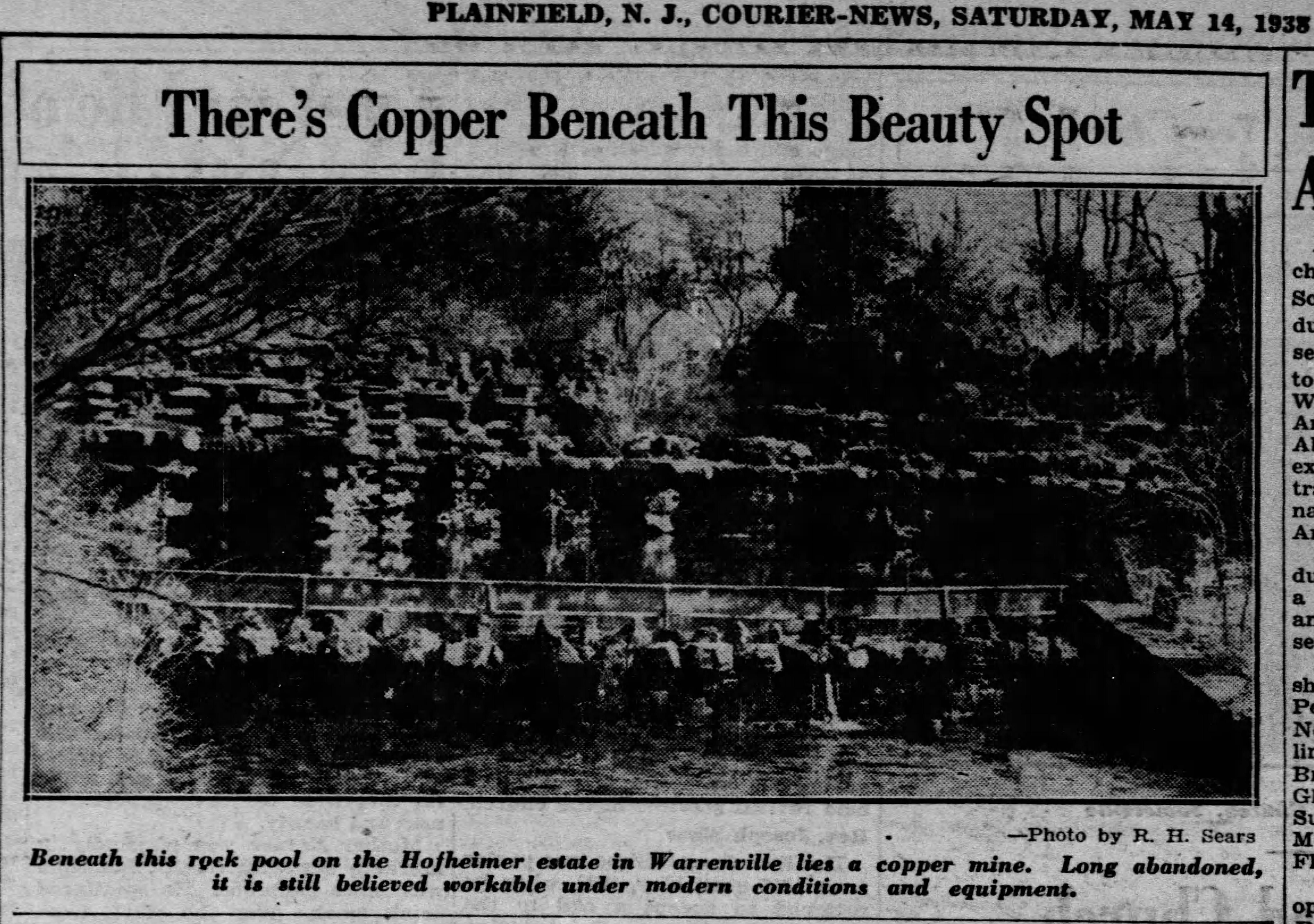 The HofHeimer Grotto from a 1938 newspaper clipping