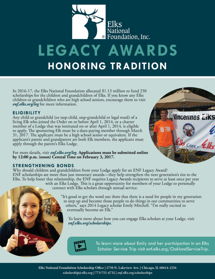 Elks Legacy Awards 2018, Honoring Tradition