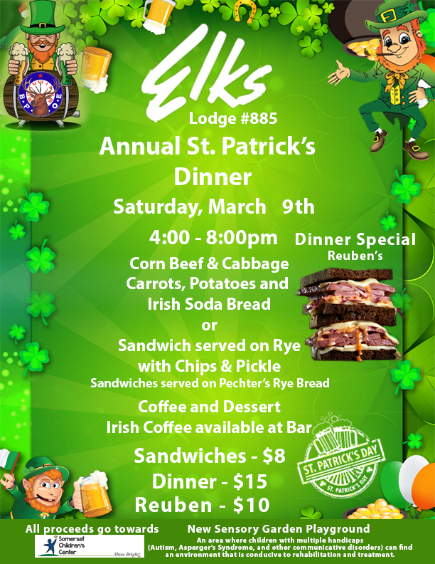 St. Patrick's Day Dinner Flyer 2019