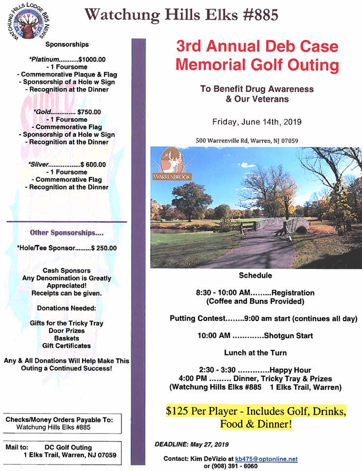 3rd Annual Deb Case Golf Outing Flyer Coversheet